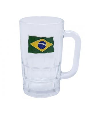 Caneca vidro brasão metal Brasil 320ml